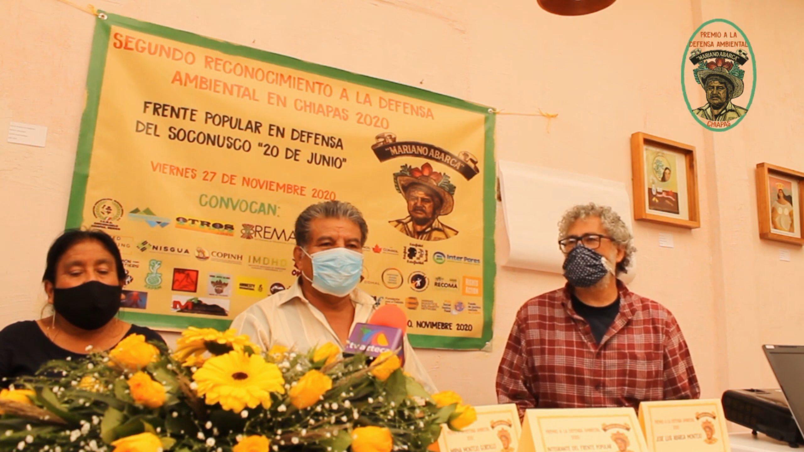 Premio a la Defensa Ambiental en Chiapas Mariano Abarca 2020